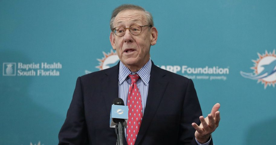 Miami Dolphins owner Stephen Ross speaks during a news conference Feb. 4, 2019, in Davie, Florida.