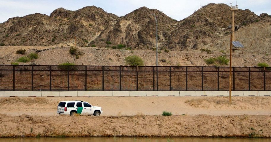 A US Border Patrol is seen from Mexico while patrolling along the border line between the cities of El Paso, Texas, in the United States, and Ciudad Juarez, Chihuahua state, Mexico on April 7, 2018.