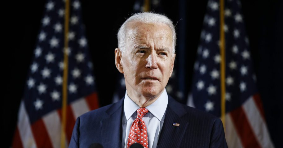 In this March 12, 2020, file photo, Democratic presidential candidate former Vice President Joe Biden speaks about the coronavirus in Wilmington, Delaware.