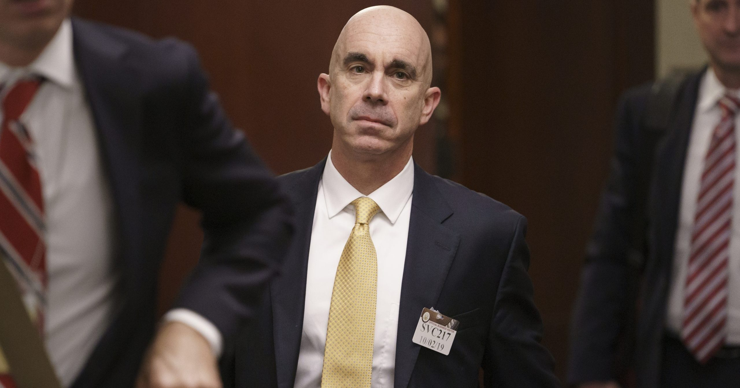 In this Oct. 2, 2019, file photo, State Department Inspector General Steve Linick leaves a meeting in a secure area at the Capitol in Washington. A senior department official said President Donald Trump removed Linick from his job as State Department's inspector general on May 15, 2020, but gave no reason for his ouster.