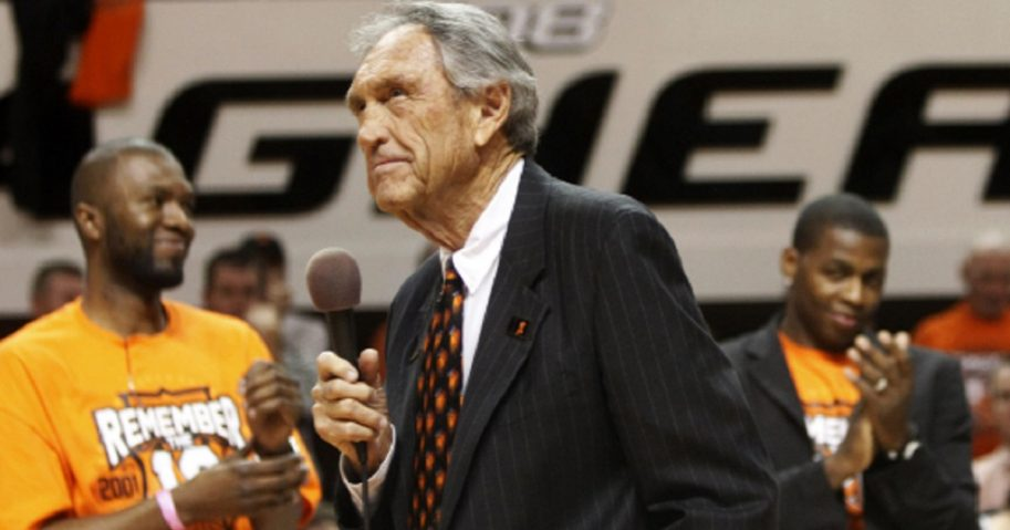 Former Oklahoma State basketball coach Eddie Sutton pauses while talking to fans during a Jan 26, 2011, ceremony honoring the 10th anniversary of the death of 10 members of the Oklahoma State basketball program in a plane crash.