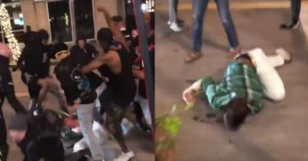 Video posted to social media Saturday shows a mob beating a man during a riot in Dallas on Saturday.