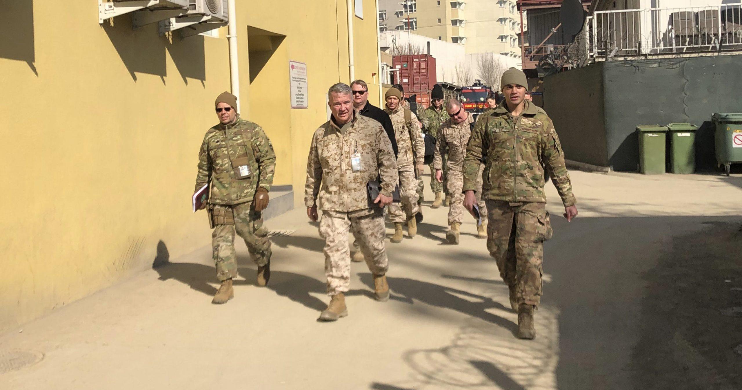 Marine Gen. Frank McKenzie, center, top U.S. commander for the Middle East, visits Kabul, Afghanistan, on Jan. 31, 2020.