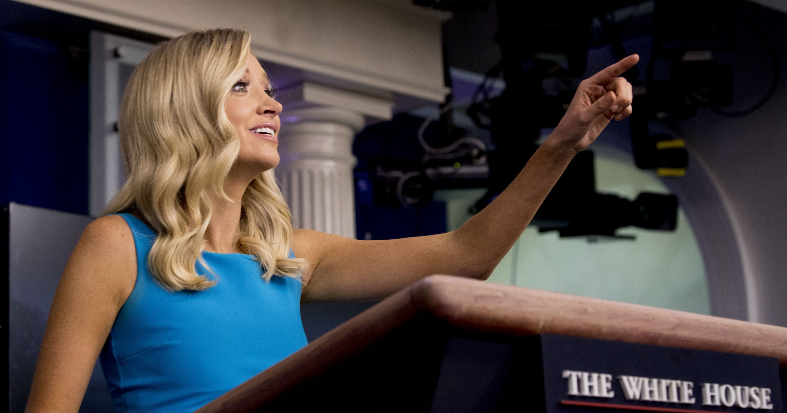 White House press secretary Kayleigh McEnany calls on a reporter during a briefing at the White House on June 3, 2020, in Washington, D.C.