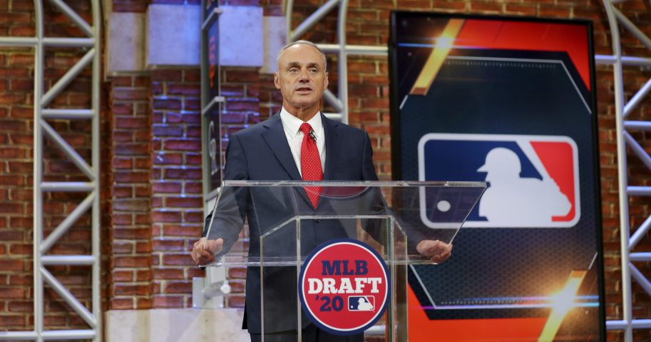 Baseball Commissioner Robert D. Manfred Jr. makes an opening statement during the baseball draft Wednesday, June 10, 2020, in Secaucus, New Jersey.