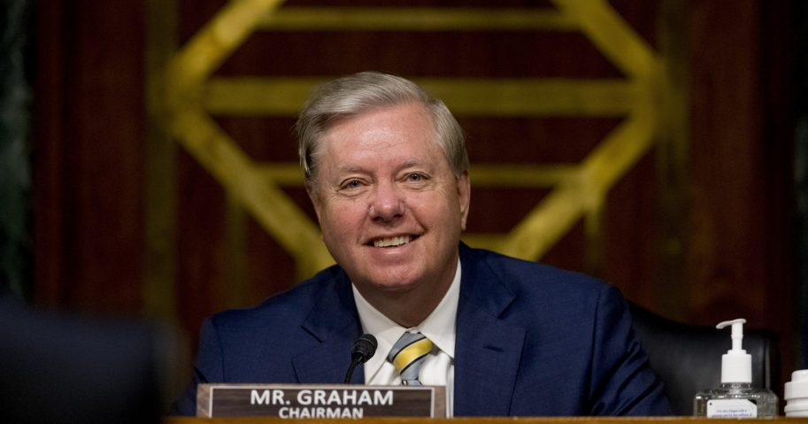 Chairman Sen. Lindsey Graham of South Carolina smiles during a Senate Judiciary Committee hearing on Capitol Hill on June 9, 2020.