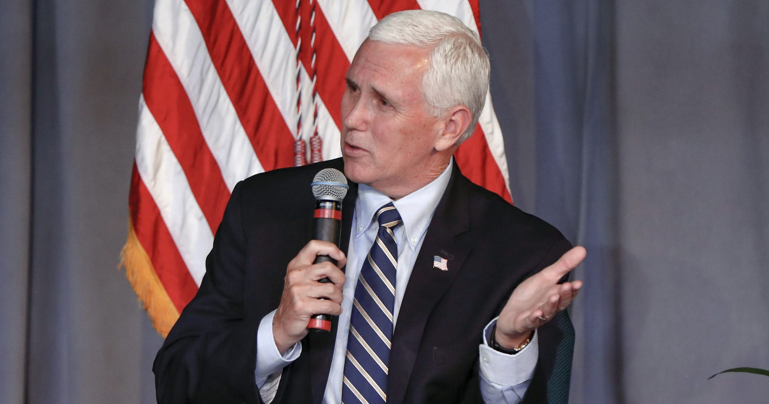 Vice President Mike Pence speaks during a discussion at the Covenant Church of Pittsburgh in Wilkinsburg, Pennsylvania, on June 12, 2020.