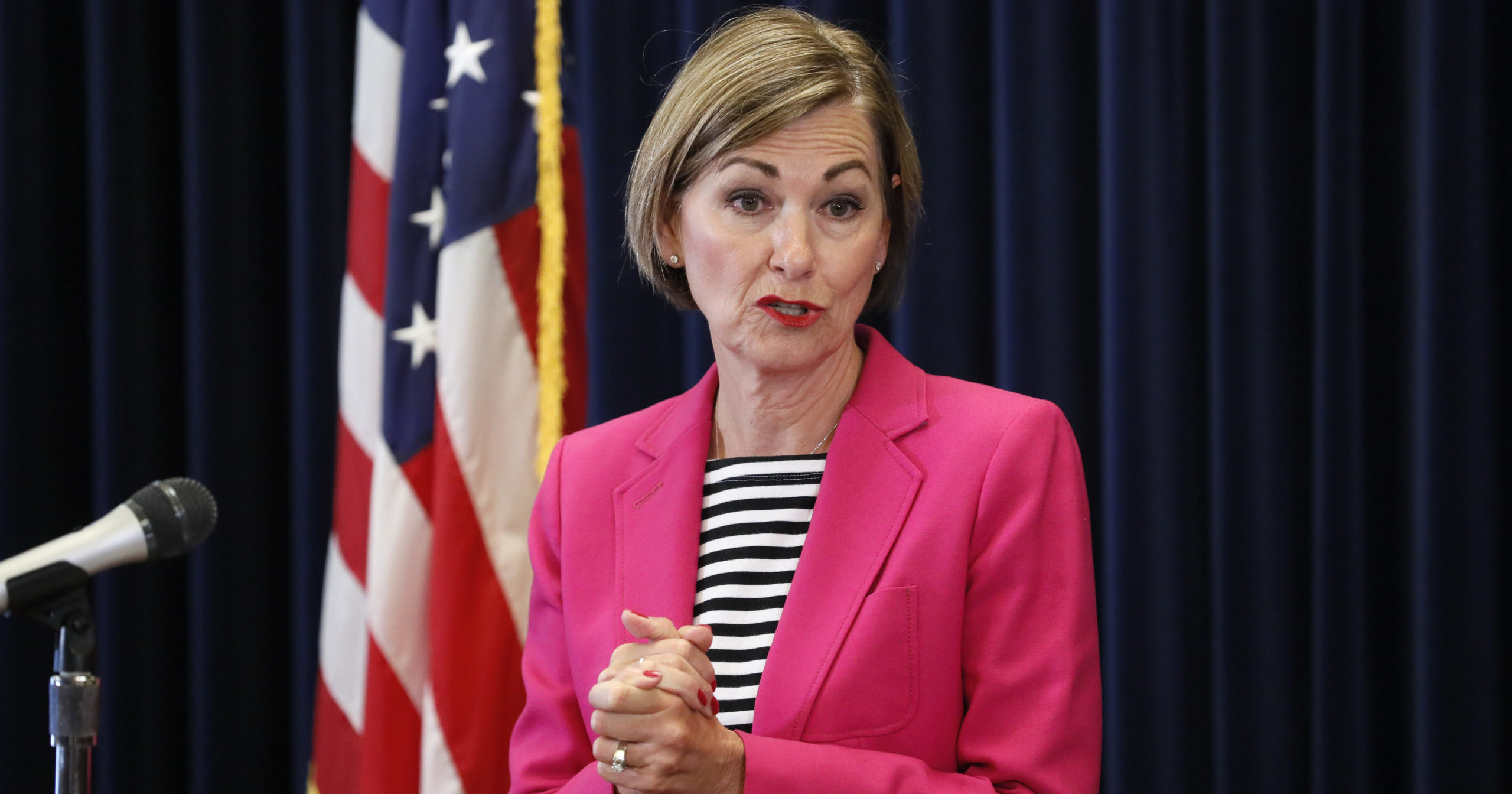 This June 18, 2020, file photo shows Iowa Gov. Kim Reynolds speaking during a news conference at the Statehouse in Des Moines, Iowa.