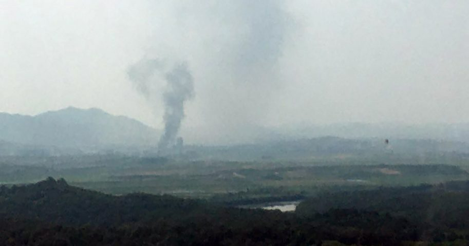 Smoke rises in the North Korean border town of Kaesong, seen from Paju, South Korea, on June 16, 2020.