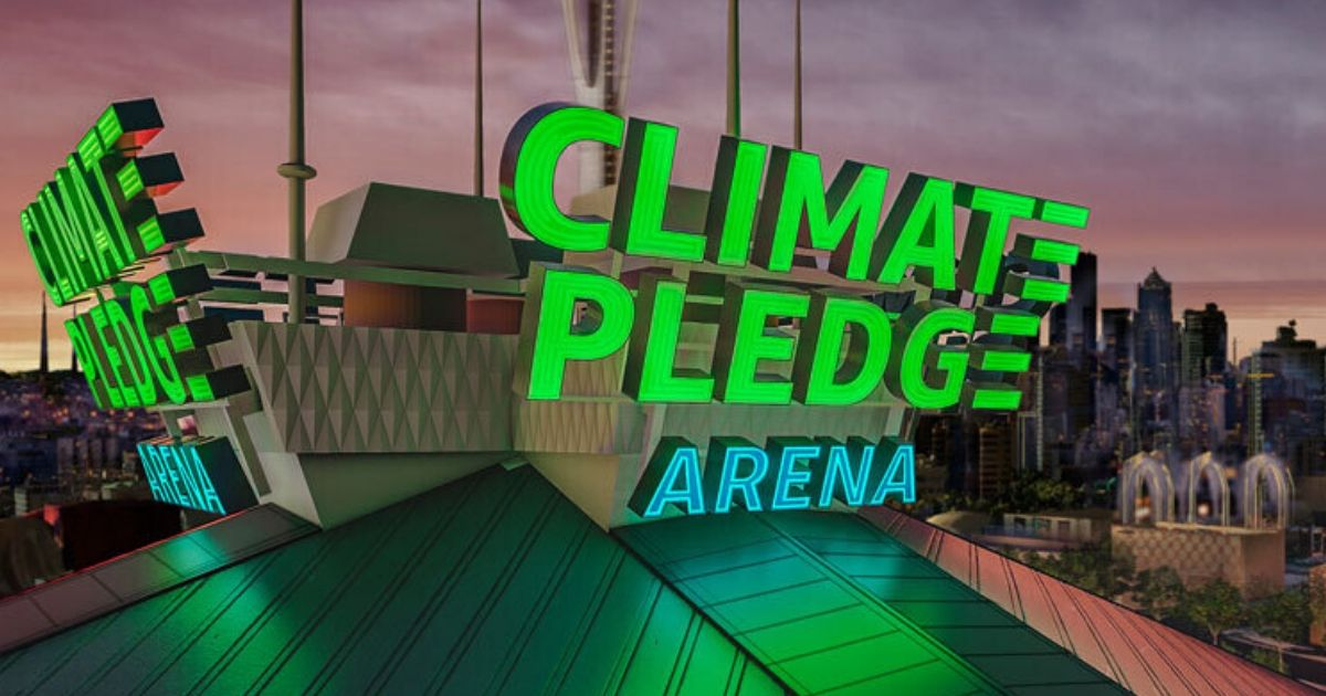 An artist's concept of Climate Pledge Arena signage.