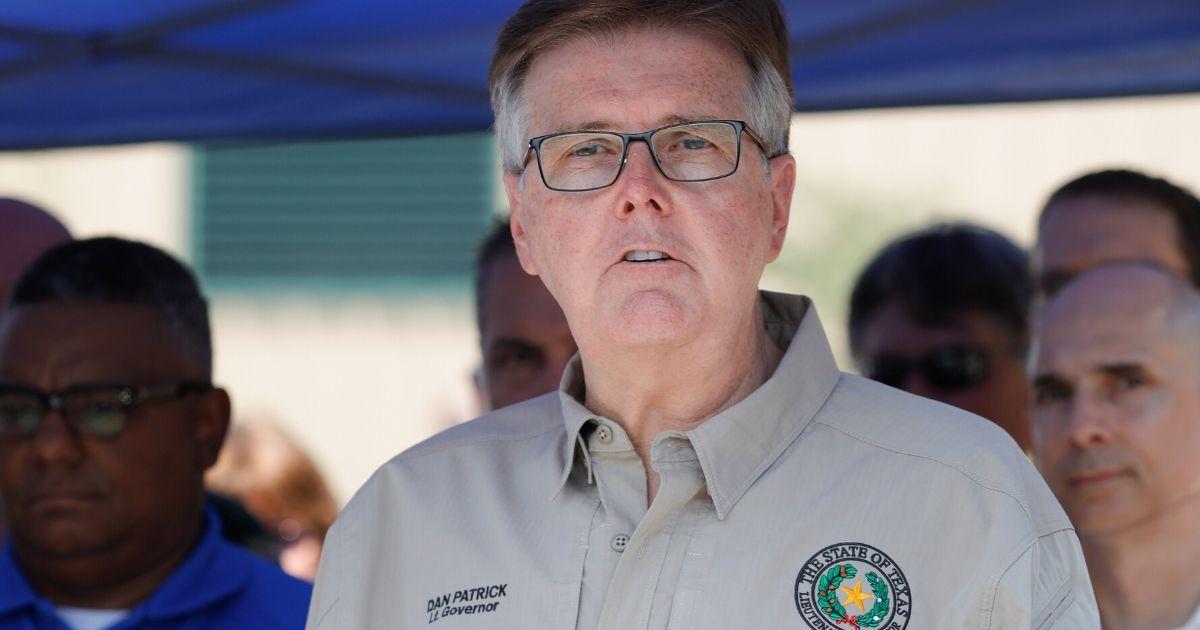 Texas Lt. Gov. Dan Patrick speaks during a news conference