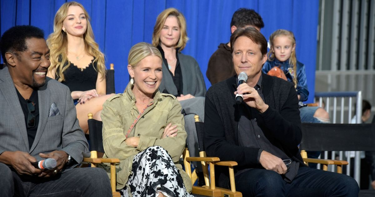 """From left to right, actors and actresses James Reynolds, Olivia Keegan, Melissa Reeves, Kassie DePaiva and Matthew Ashford talk to the audience at NBC's """"Days of Our Lives"""" Day of Days fan event at Universal CityWalk on Nov. 10, 2018, in Universal City, California."""