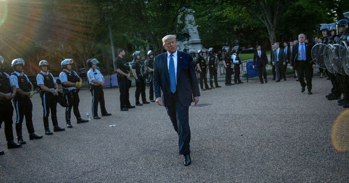 President Donald Trump leaves the White House on foot to go to St John's Episcopal church across Lafayette Park in Washington, D.C., on June 1, 2020.