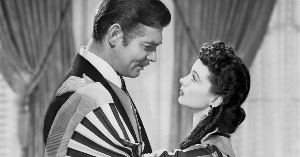"Vivien Leigh and Clark Gable embrace in a scene from the 1939 film ""Gone with the Wind."""