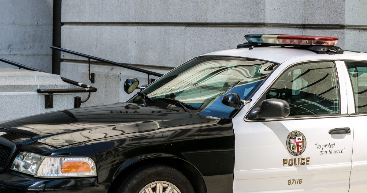 A Los Angeles Police Department patrol car is seen parked in front of City Hall on Aug. 23, 2019.
