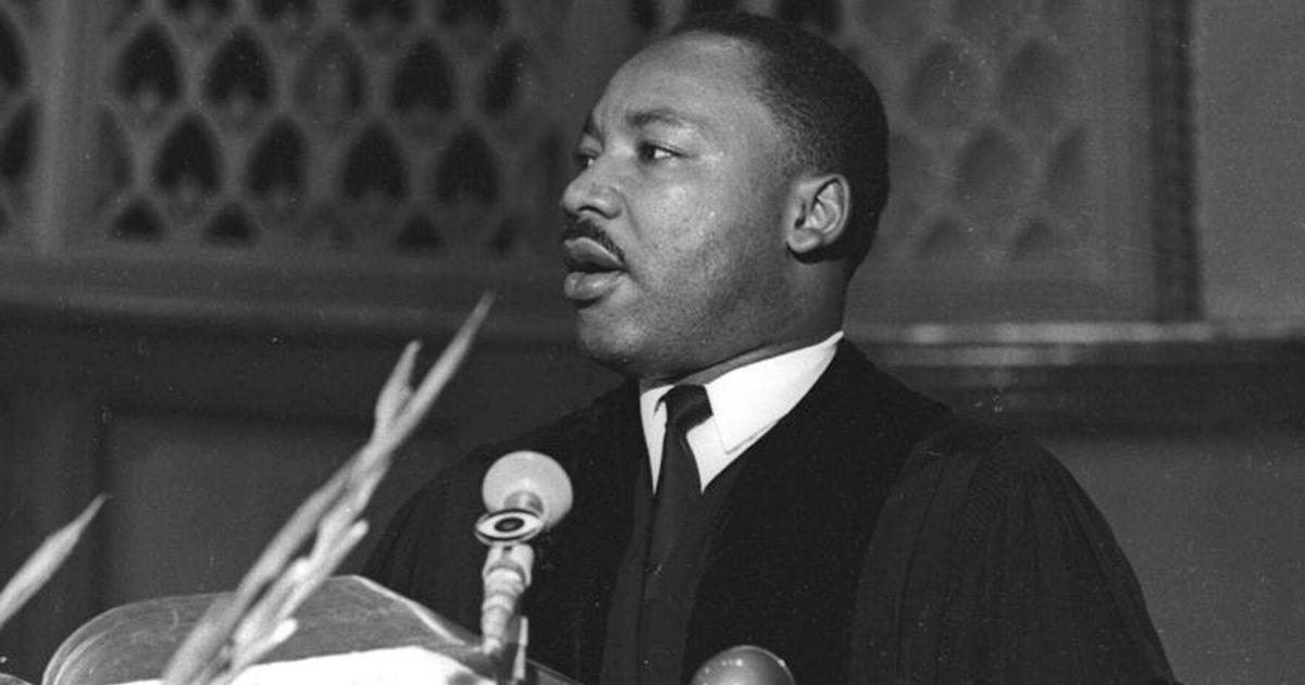 American civil rights leader Dr. Martin Luther King Jr. (1929 - 1968) speaks at Quinn Chapel on the South Side of Chicago, Illinois, in 1966.
