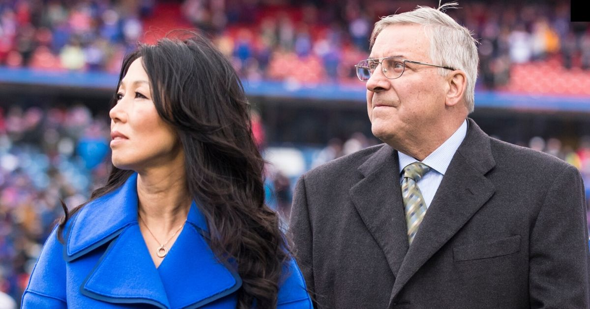 Buffalo Bills owners Kim and Terry Pegula honor the family of former Bills offensive lineman Bob Kalsu, who was killed in the Vietnam War, before a 2016 game at New Era Field in Orchard Park, New York.