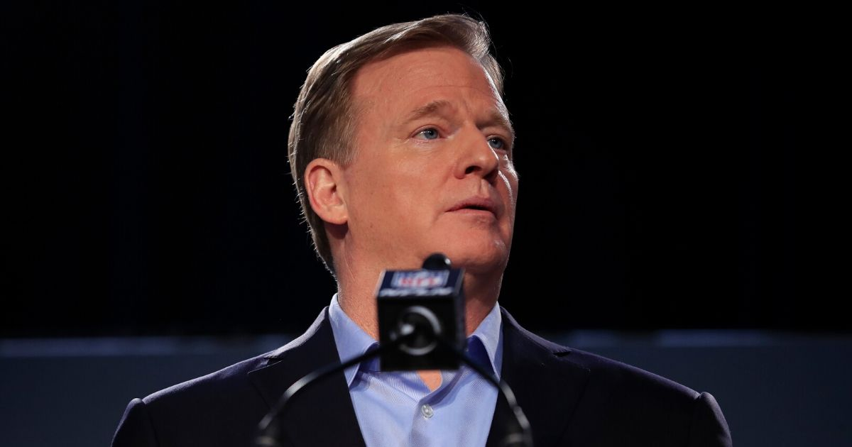 NFL Commissioner Roger Goodell speaks to the media during a news conference prior to Super Bowl LIV at the Hilton Miami Downtown on Jan. 29, 2020, in Miami, Florida.