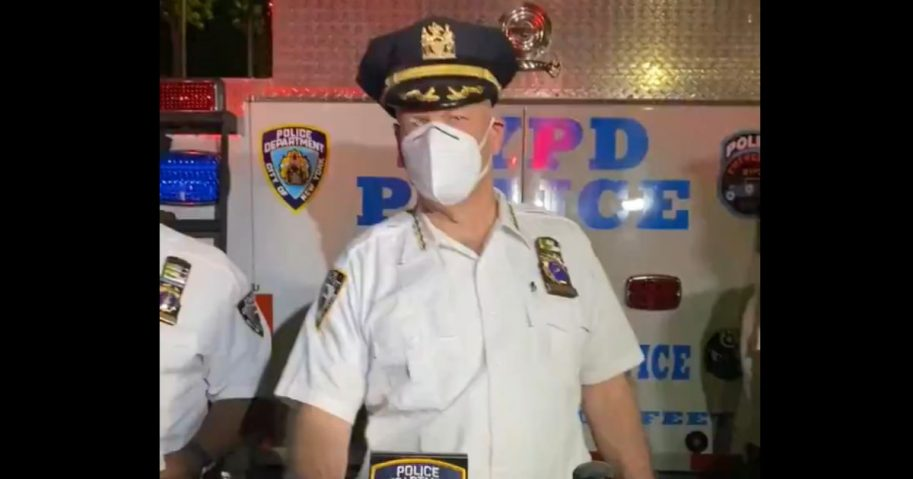 NYPD Chief Terence Monahan addresses rumors about a police shooting.