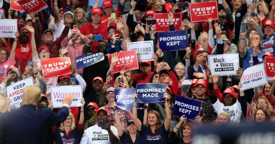 President Donald Trump speaks to supporters during a rally on March 2, 2020, in Charlotte, North Carolina.