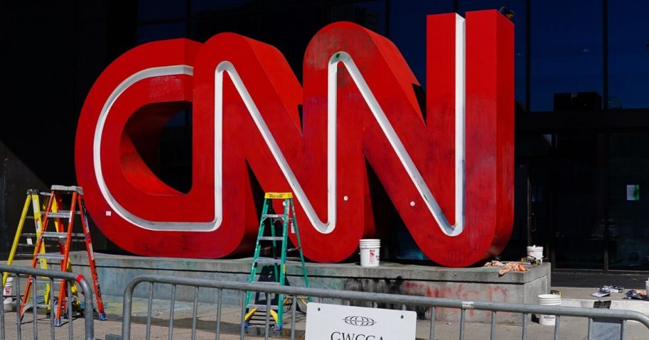 The CNN sign at the network's headquarters following a protest in Atlanta.