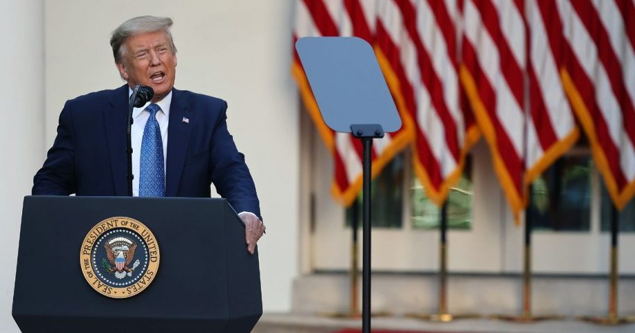 President Donald Trump makes a statement in the Rose Garden about the ongoing unrest across the nation on June 1, 2020, in Washington, D.C.