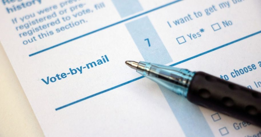 """Close-up image of a """"vote-by-mail"""" section on a voter registration form."""