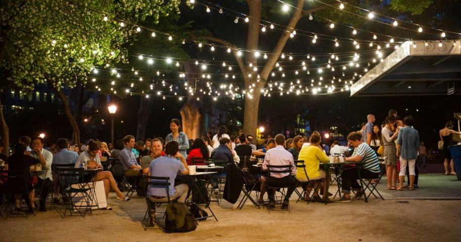 Customers dine at Shake Shack in Madison Square Park on June 10, 2014, in New York City.