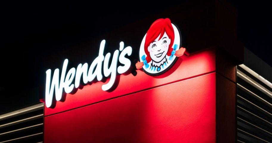 A Wendy's restaurant at twilight in Hudson, Minnesota.