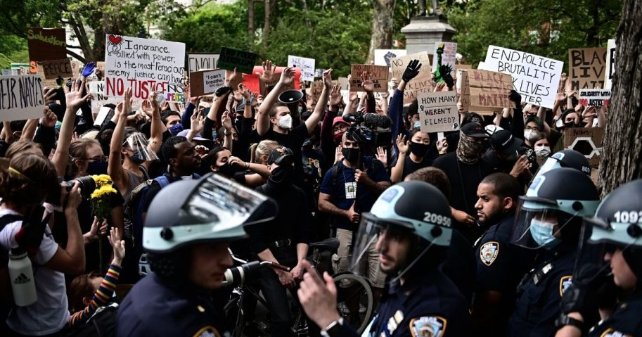 """Protesters demonstrate on June 2, 2020, during a """"Black Lives Matter"""" protest in New York City."""