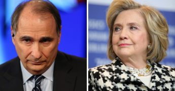 Former Obama adviser David Axelrod, left; former Democratic presidential candiate Hillary Clinton, right.