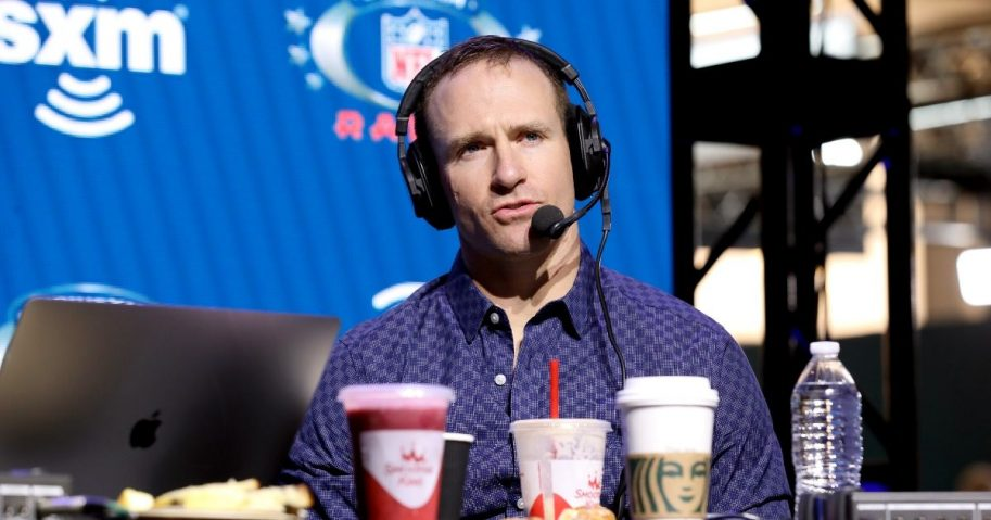 NFL quarterback Drew Brees of the New Orleans Saints speaks onstage at Super Bowl LIV on Jan. 31, 2020, in Miami.