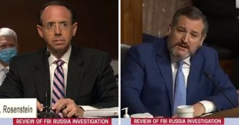 Former Deputy Attorney General Rod Rosenstein, left, tesifies under questioning Wednesday by Texas Sen. Ted Cruz, right.