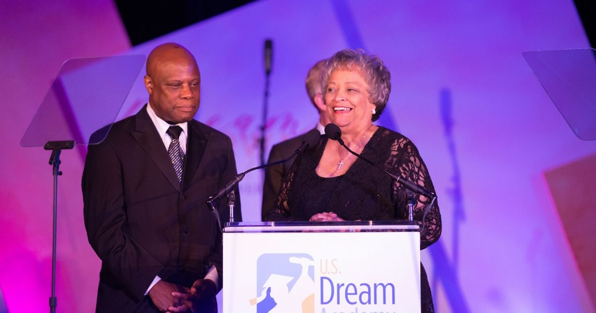 Conservative activist Kay Cole James, right, receives the Legacy Award onstage at the 18th Annual Power Of A Dream Gala at the JW Marriott Hotel on May 8, 2019, in Washington, D.C.