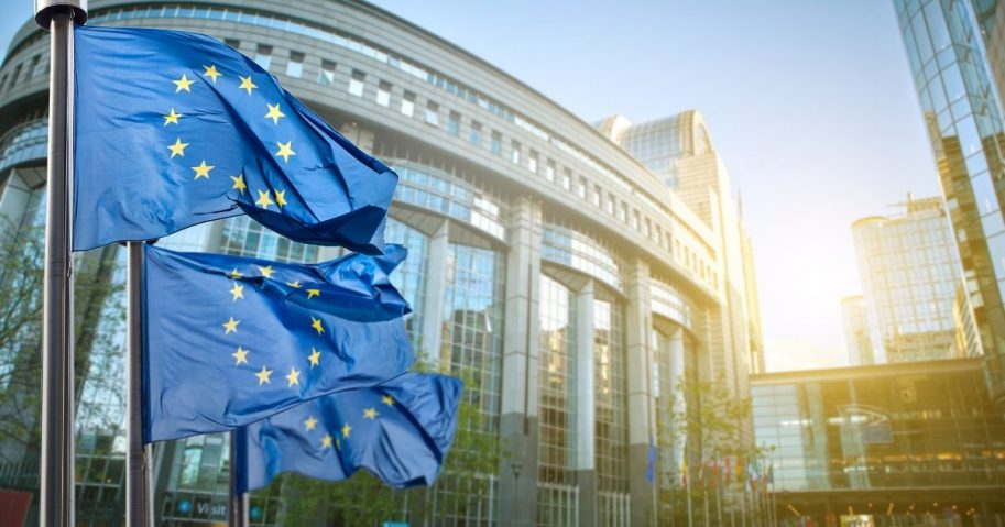 Stock image of European Union flags in Brussels.