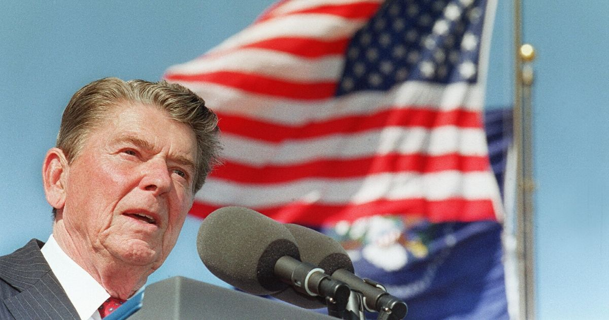 President Ronald Reagan gives a speech at the dedication of the library bearing his name in Simi Valley, California, on Nov. 4, 1991.