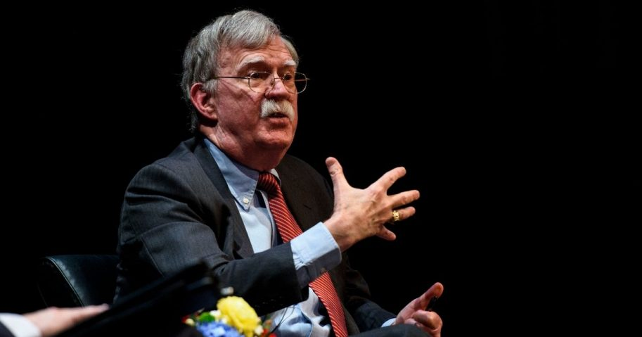"""Former National Security Advisor John Bolton discusses the """"current threats to national security"""" during a forum moderated by Peter Feaver, the director of Duke's American Grand Strategy, at the Page Auditorium on the campus of Duke University on Feb. 17, 2020, in Durham, North Carolina."""
