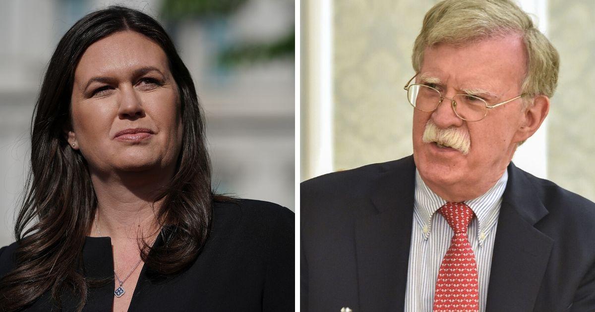 Former White House press secretary Sarah Sanders, left; and former National Security Advisor John Bolton, right.