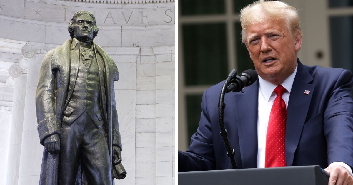 The statue of Thomas Jefferson inside the Jefferson Memorial, left; President Donald Trump, right.