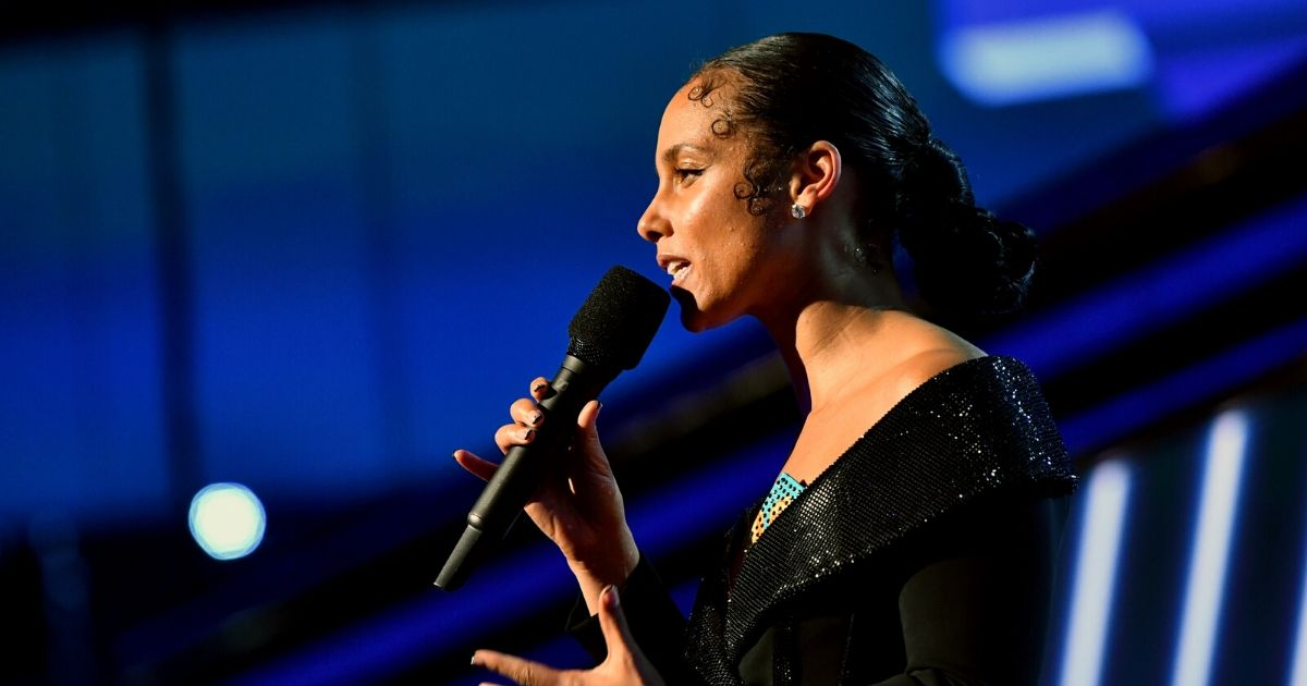 Singer Alicia Keys speaks on stage during the 62nd Annual Grammy Awards at the Staples Center on Jan. 26, 2020, in Los Angeles.