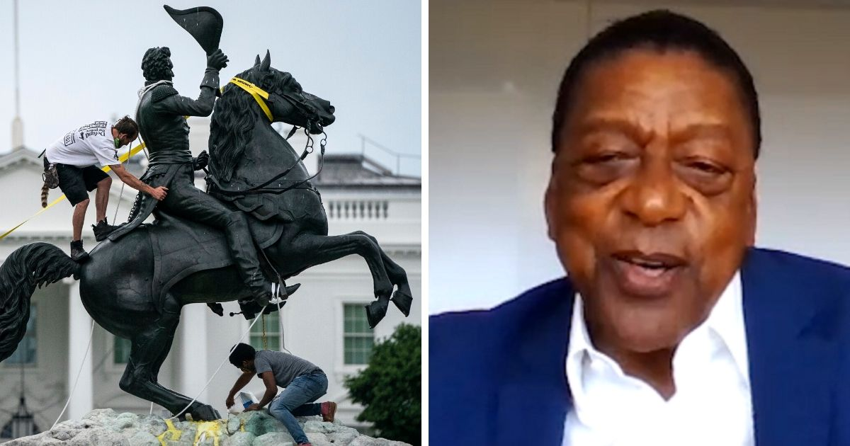 Vandals try to bring down the Andrew Jackson statue in Washington's Lafayette Square on Monday, left; right, BET founder Robert Johnson.