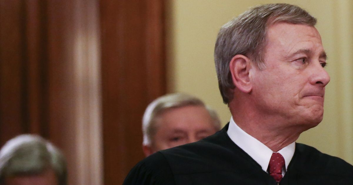 Supreme Court Chief Justice John Roberts departs the Senate chamber after the Senate impeachment trial of U.S. President Donald Trump concluded on Feb. 5, 2020, in Washington, D.C.