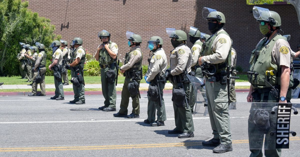 The West Hollywood Sheriff's Department at the All Black Lives Matter Solidarity March on June 14, 2020, in Los Angeles.