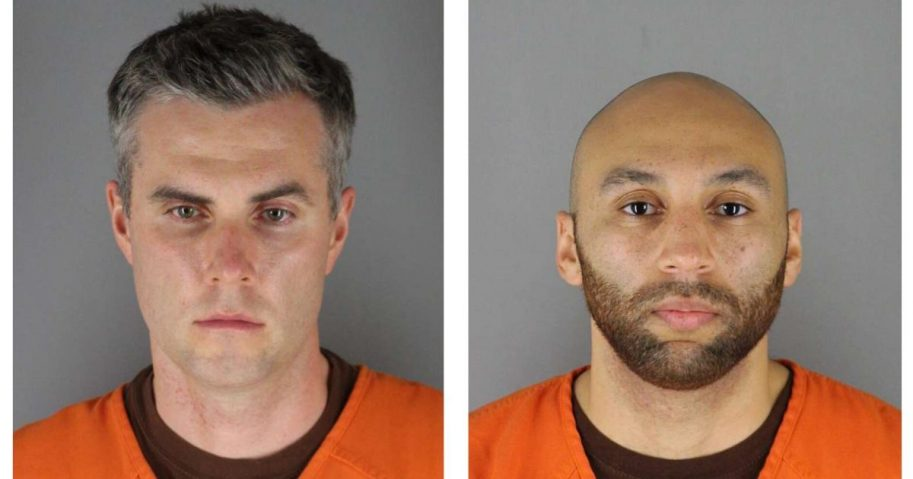 In these handouts provided by the Hennepin County Sheriff's Office, former Minneapolis police officers Thomas Lane and J. Alexander Keung pose for mugshots after being charged with aiding and abetting second-degree murder in the death of George Floyd.
