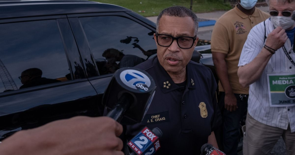 Detroit Police Chief James Craig speaks with the media about the protests taking place in Detroit, Michigan, on June 3, 2020.