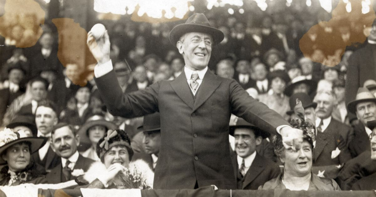 Then-President Woodrow Wilson throws out the first pitch on opening day 1916 in the image above.