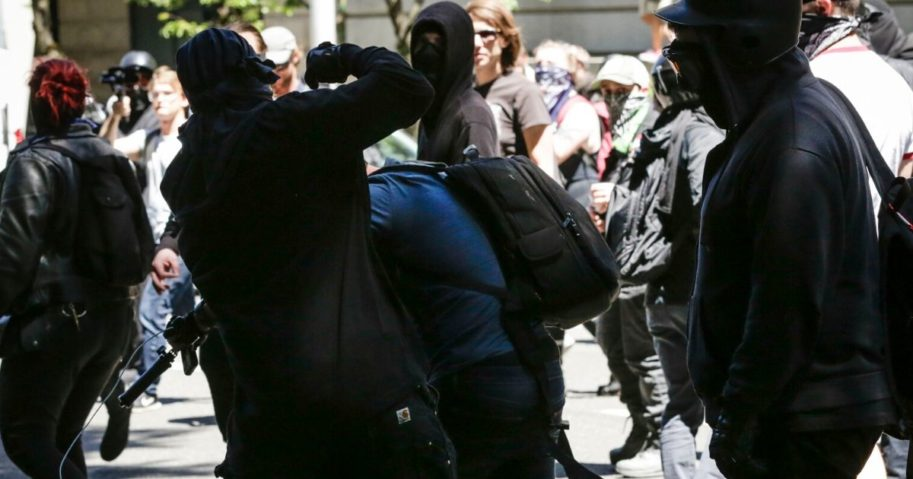 Unidentified Rose City antifa members beat up Andy Ngo, a Portland-based journalist, on June 29, 2019, in Portland, Oregon.