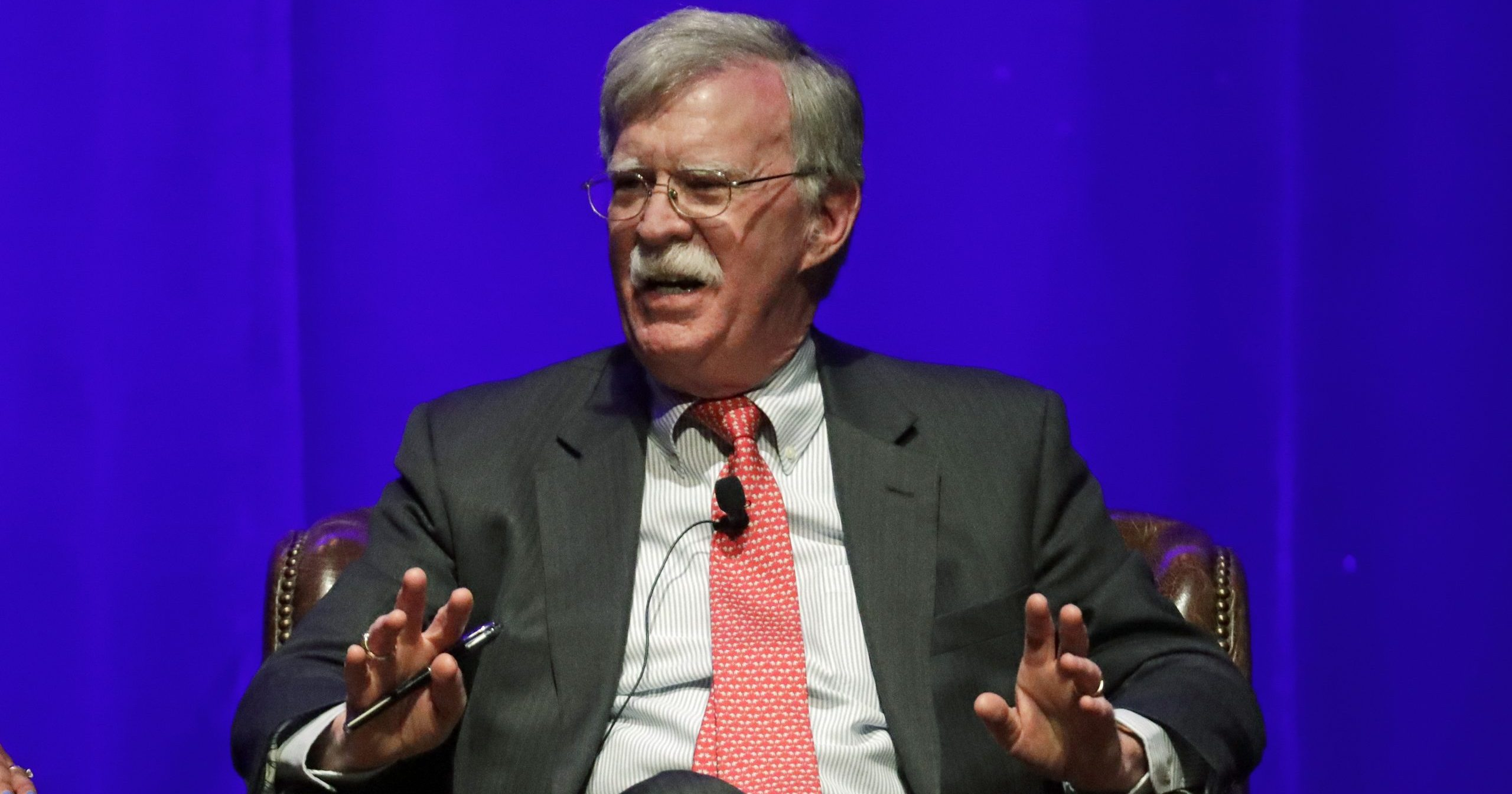 In this Feb. 19, 2020, file photo, former national security adviser John Bolton takes part in a discussion on global leadership at Vanderbilt University in Nashville, Tennessee. An attorney for Bolton said June 10 that President Donald Trump is trying to stop publication of the former official's forthcoming memoir after White House lawyers this week raised concerns that the book contains classified material that presents a national security threat.