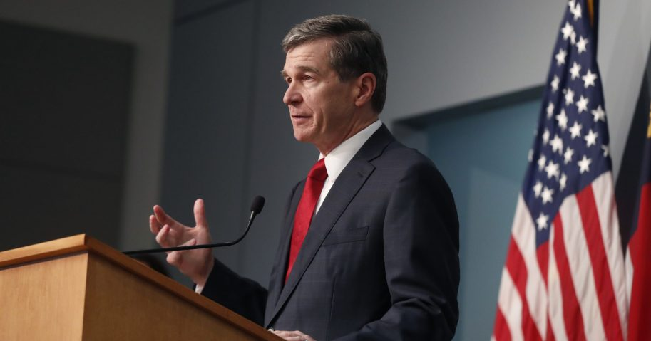 North Carolina Gov. Roy Cooper speaks during a briefing at the Emergency Operations Center in Raleigh, North Carolina, on June 2, 2020.