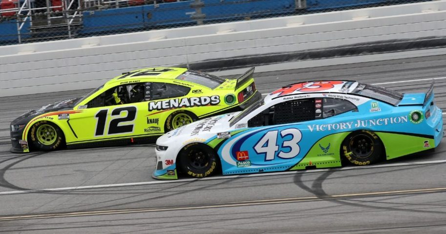 Bubba Wallace (43) competes in the NASCAR Cup Series GEICO 500 at Talladega Superspeedway on June 22, 2020, in Talladega, Alabama.